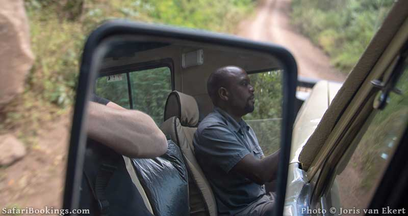African Safari guide keeping his eyes on the road