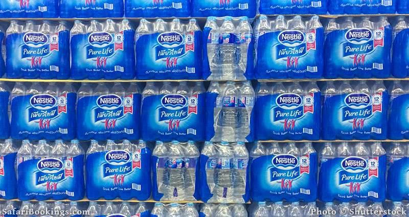 Plastic bottles of water from Nestle
