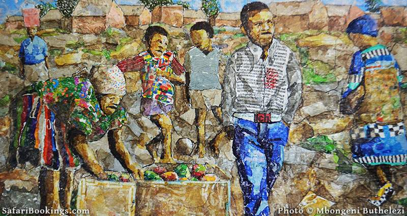 Mbongeni Buthelezi is using predominantly recycled plastics heated onto plastics as a medium for vibrant contemporary artworks