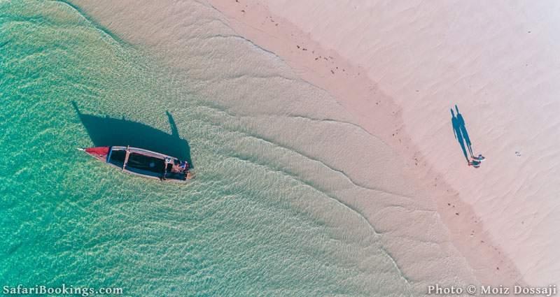 Drone footage of beach in Mafia Island Marine Park, Tanzania