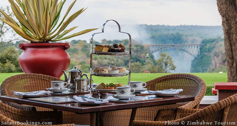 High tea on the veranda at Victoria Falls Hotel