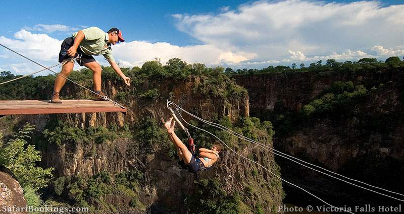 Bungee jump from the Victoria Falls bridge