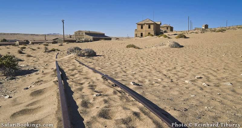 Old rail track in Kolmanskop, Namibia