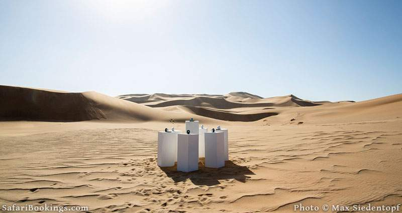 Sound installation playing Toto's Africa for eternity in the Namib desert