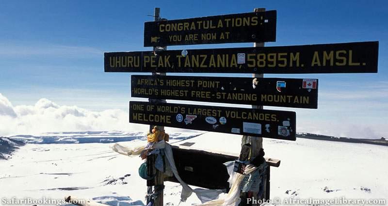 Uhuru peak (5895m), the summit of Mount Kilimanjaro