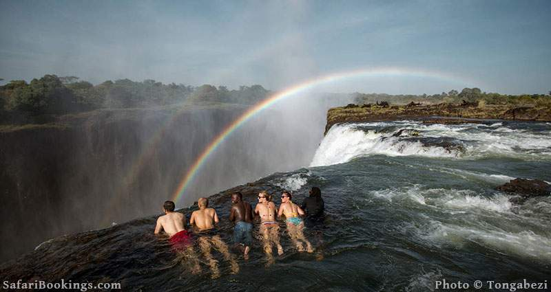 Tourists looking over the edge of Victoria Falls