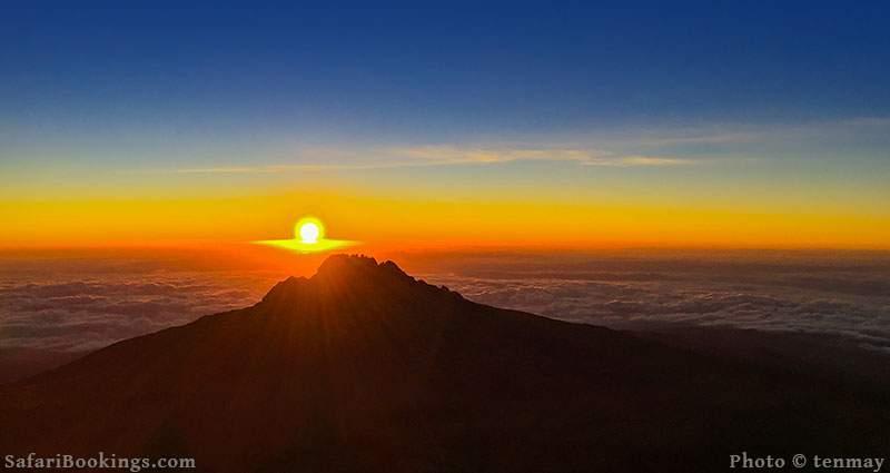 Sunrise over Mawenzi Peak on a clear day. Mount Kilimanjaro, Tanzania