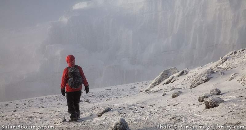 Walking on the glacier, Mount Kilimanjaro, Tanzania