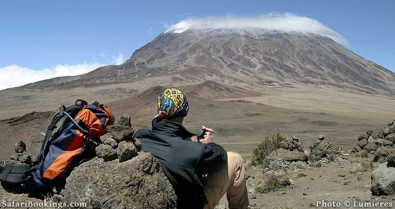 Taking a break, climbing Mount Kilimanjaro, Tanzania