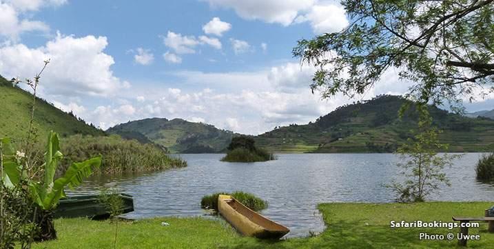 Boat on the shore of Lake Bunyonyi