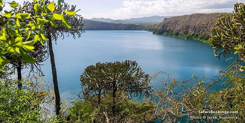 Crater lake on the border of Kenya and Tanzania