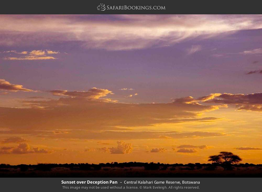 Sunset over Deception pan  in Central Kalahari Game Reserve, Botswana