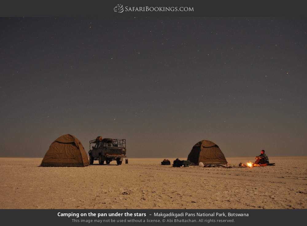 Camping on the pan under the stars in Makgadikgadi Pans National Park, Botswana