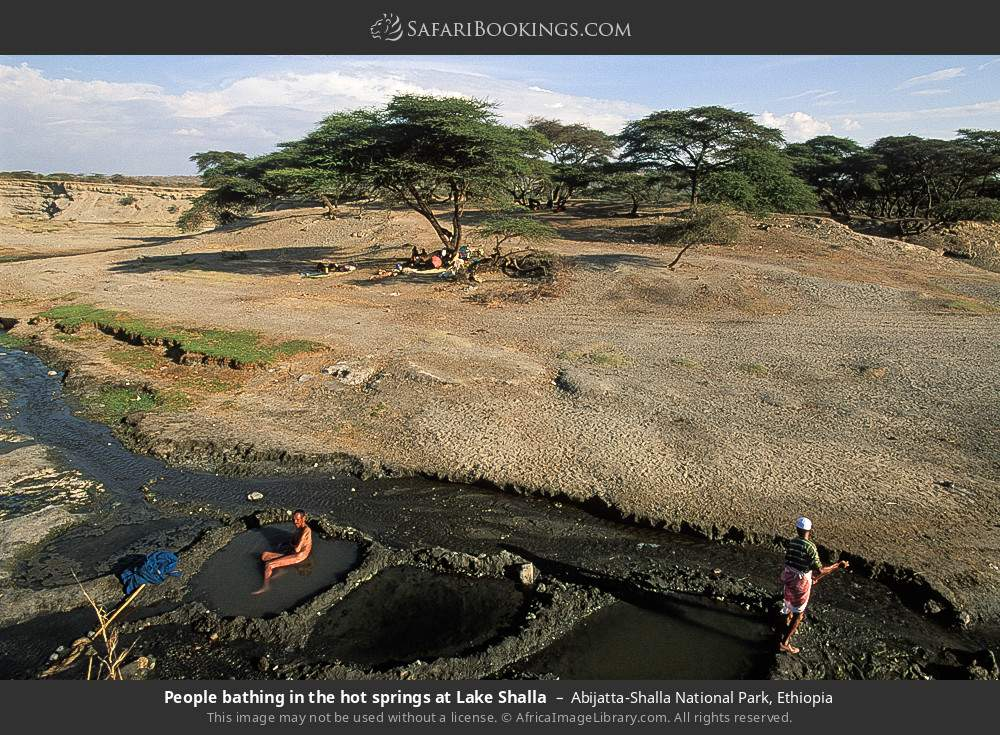 People bathing in the hot springs at Lake Shalla in Abijatta-Shalla National Park, Ethiopia