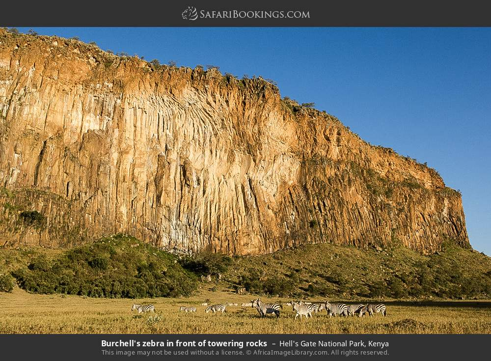 Burchell's zebra in front of towering rocks in Hell's Gate National Park, Kenya