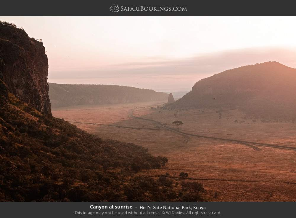 Canyon at sunrise in Hell's Gate National Park, Kenya