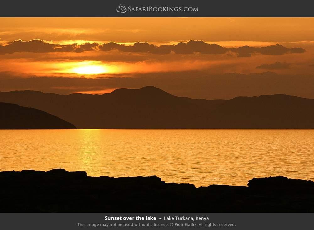 Sunset over the lake in Lake Turkana, Kenya
