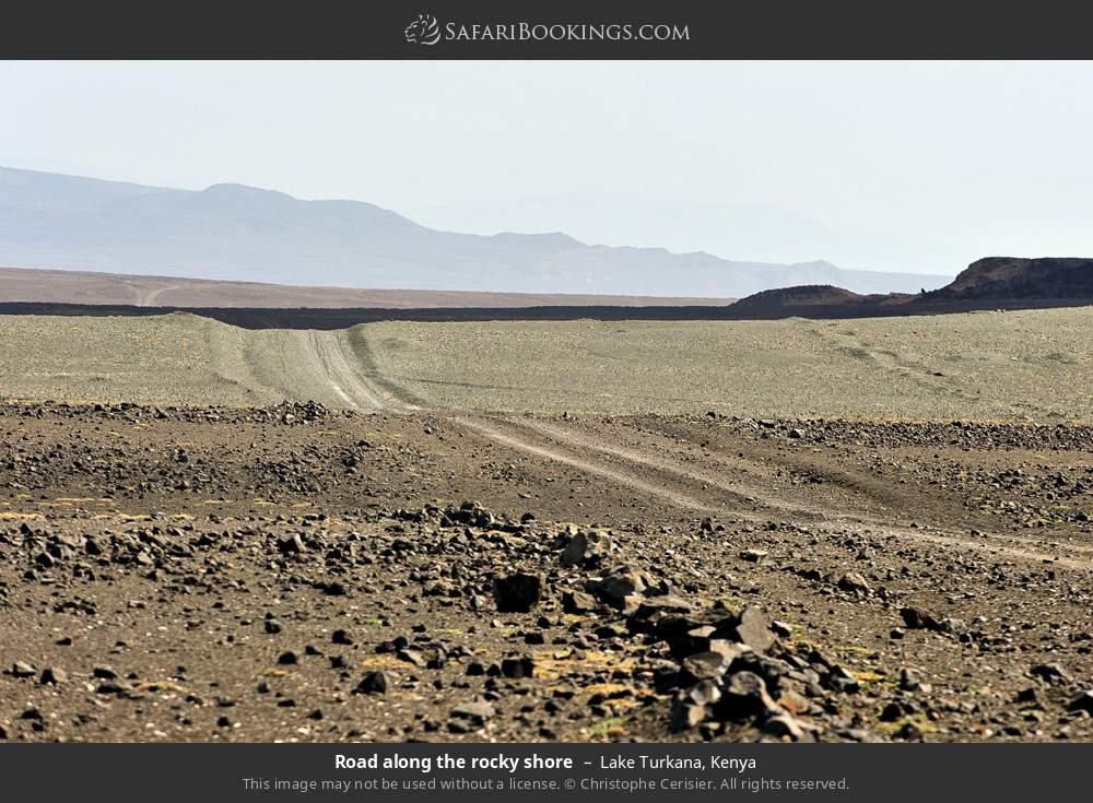 Road along the rocky shore in Lake Turkana, Kenya