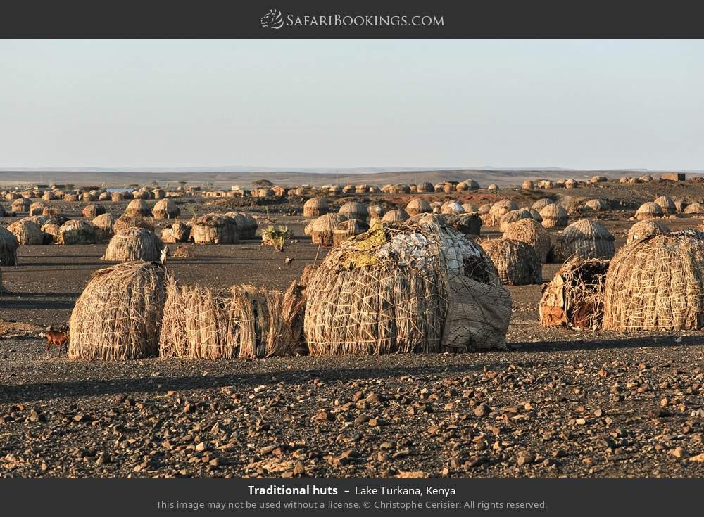 African Turkana huts in Lake Turkana, Kenya