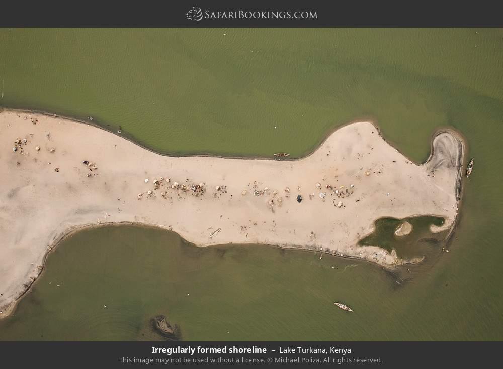 Irregularly formed shoreline in Lake Turkana, Kenya