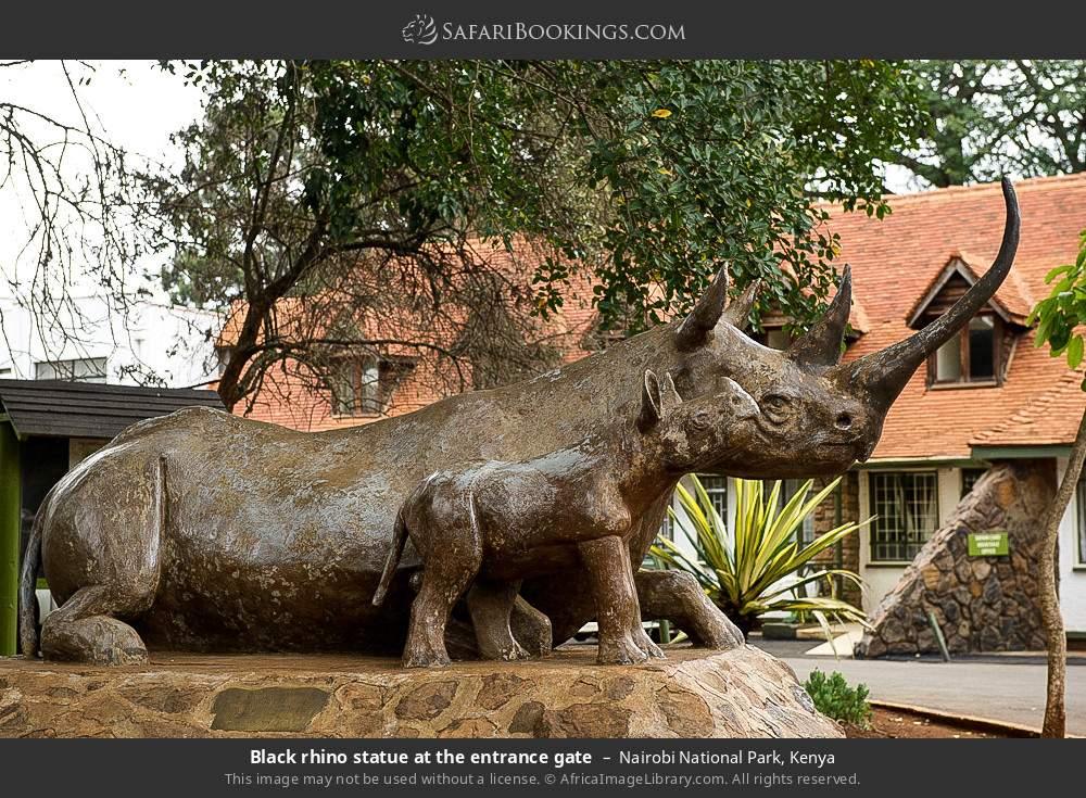 Black rhino statue at the entrance gate in Nairobi National Park, Kenya