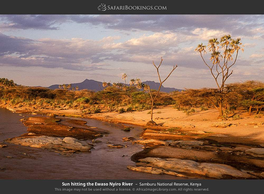 Sun hitting the Ewaso Ngiro River in Samburu National Reserve, Kenya