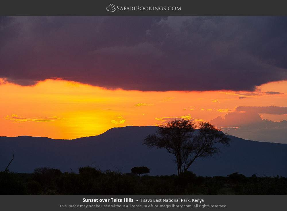 Sunset over Taita Hills in Tsavo East National Park, Kenya
