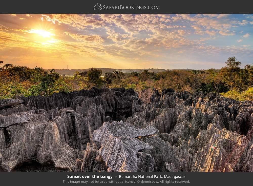 Sunset over the tsingy in Bemaraha National Park, Madagascar