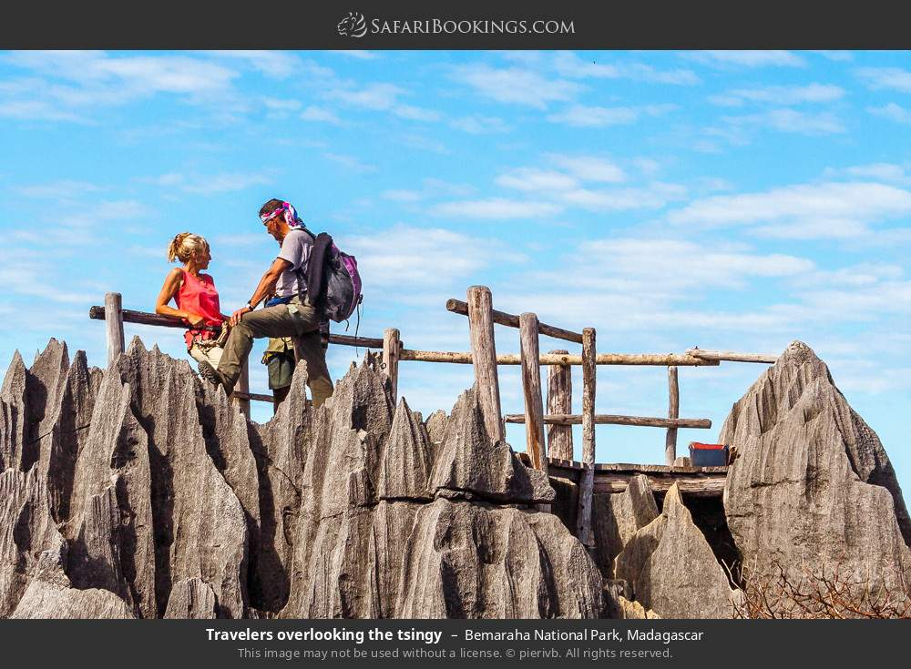 Tourists ovelooking the tsingy in Bemaraha National Park, Madagascar