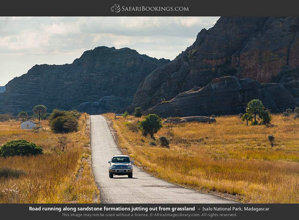 Road running along sandstone formations jutting out from grassland in Isalo National Park, Madagascar