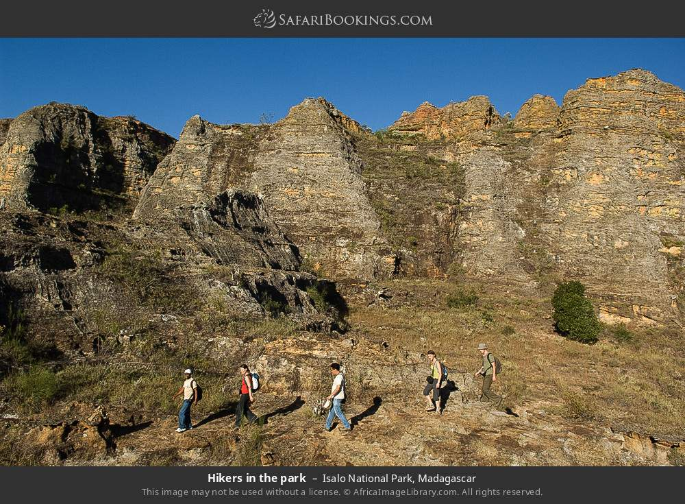 Hikers in the park in Isalo National Park, Madagascar