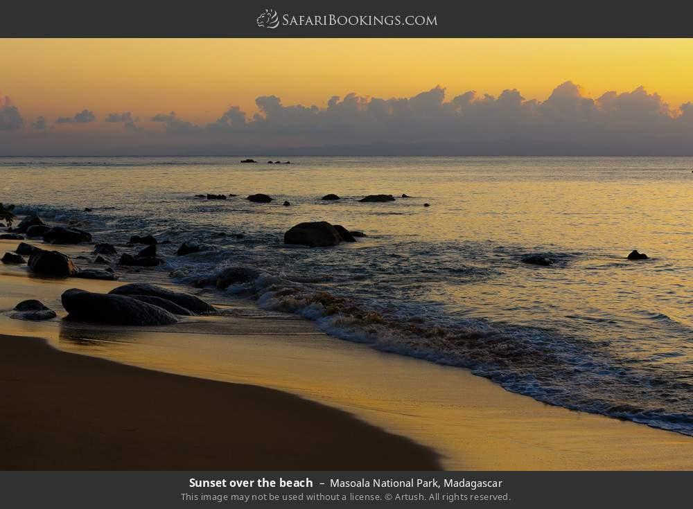 Sunset over the beach in Masoala National Park, Madagascar