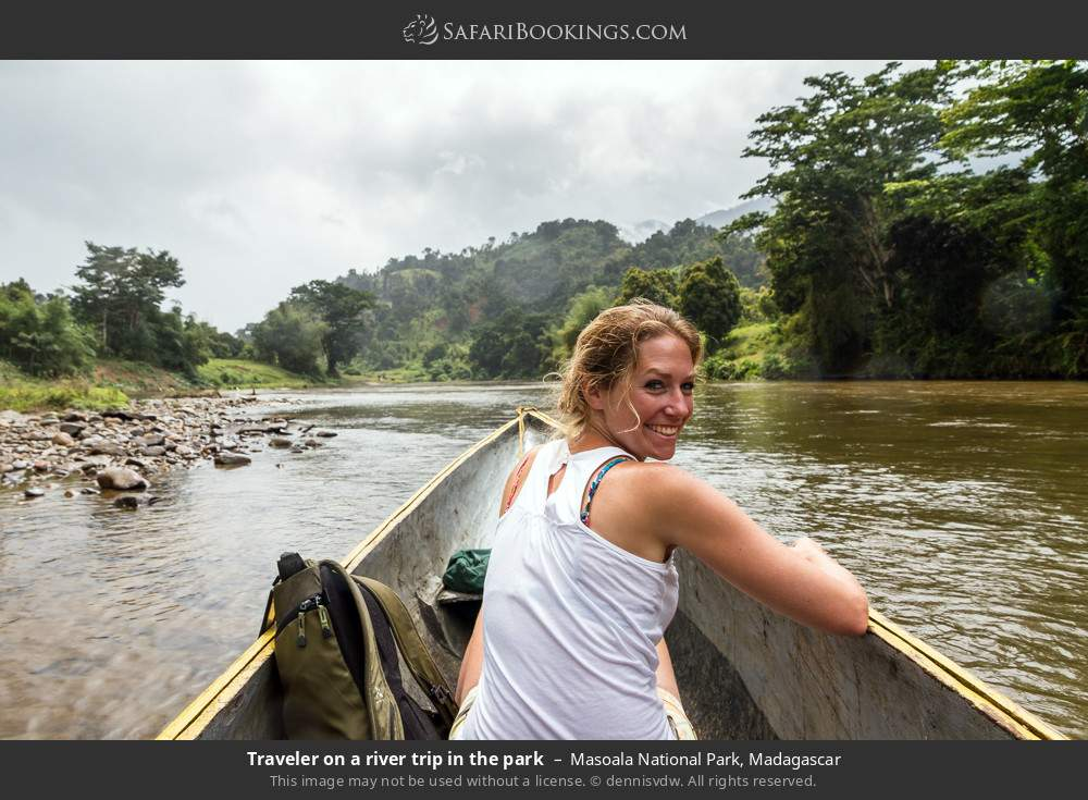 Tourist on a river trip in the park in Masoala National Park, Madagascar