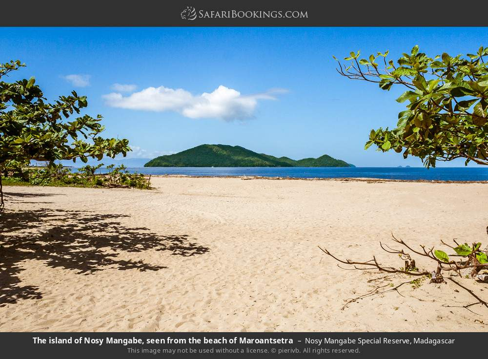 The island of Nosy Mangabe, seen from the beach of Maroantsetra in Nosy Mangabe Special Reserve, Madagascar