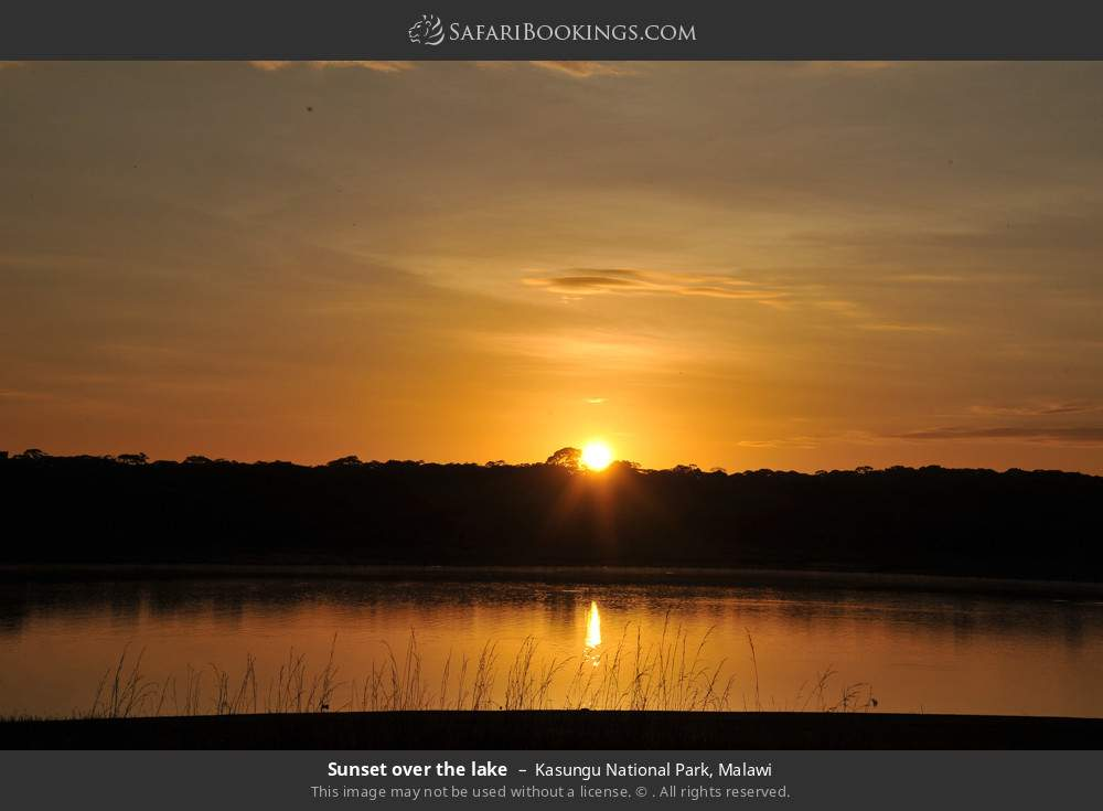 Sunset over the lake in Kasungu National Park, Malawi