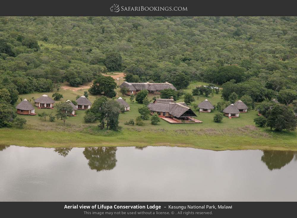 Aerial view of Lifupa Conservation Lodge in Kasungu National Park, Malawi