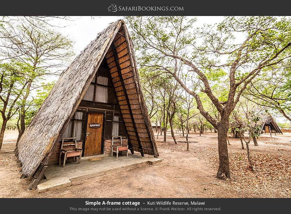 Simple A-frame cottage in Kuti Wildlife Reserve, Malawi