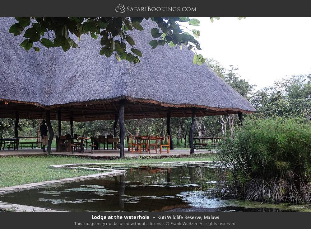 Lodge at the waterhole in Kuti Wildlife Reserve, Malawi