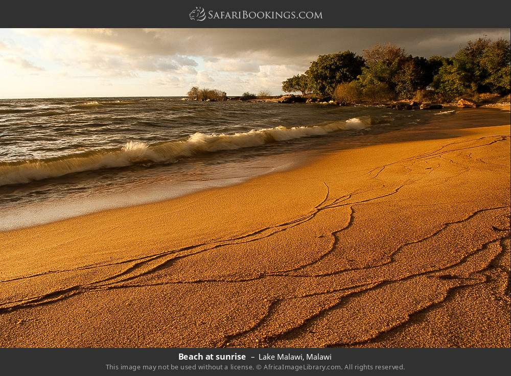 Beach at sunrise in Lake Malawi, Malawi