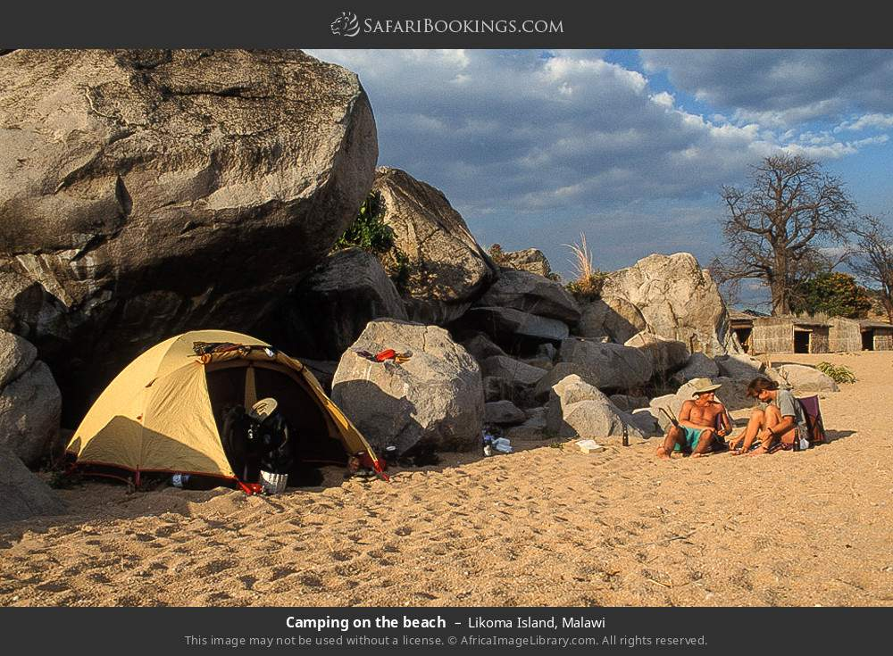 Camping on the beach in Likoma Island, Malawi