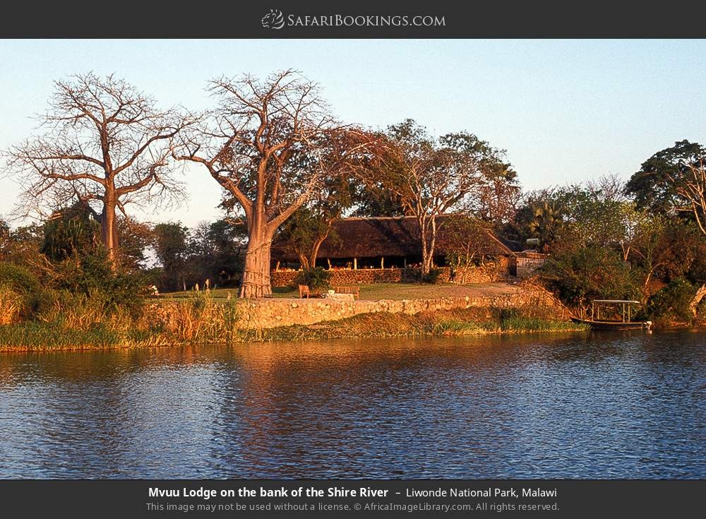 Mvuu Lodge on the bank of the Shire River in Liwonde National Park, Malawi