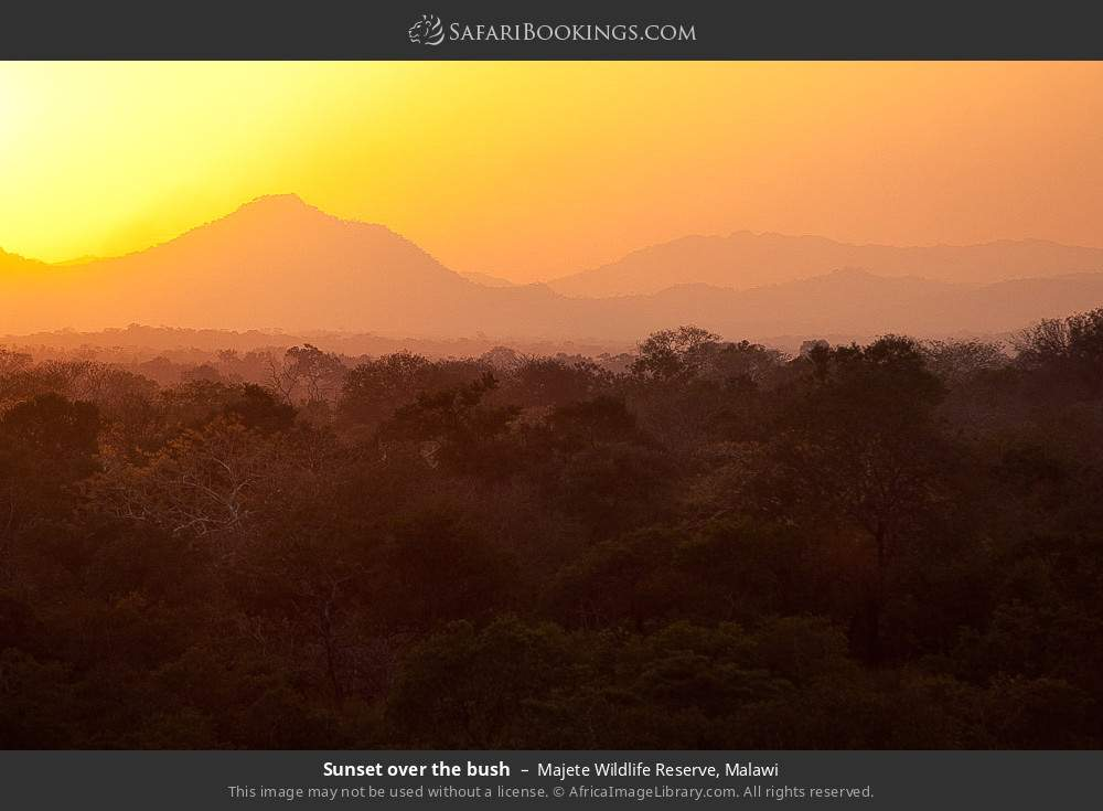 Sunset over the bush in Majete Wildlife Reserve, Malawi
