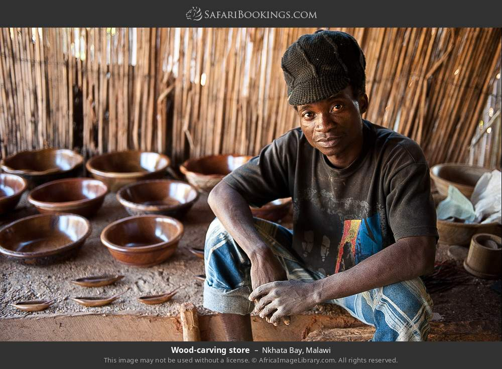 Wood carving store in Nkhata Bay, Malawi