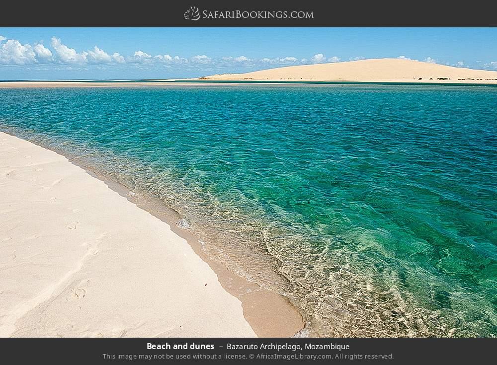 Beach and dunes in Bazaruto Archipelago, Mozambique
