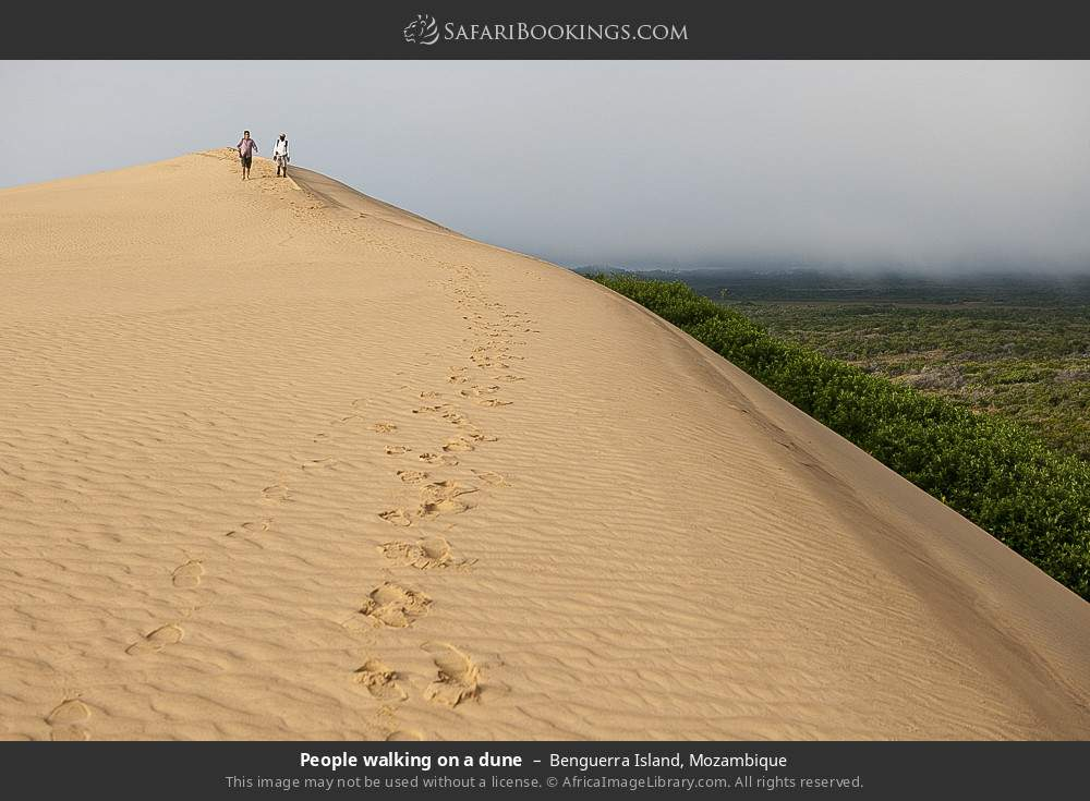 People walking on a dune in Benguerra Island, Mozambique