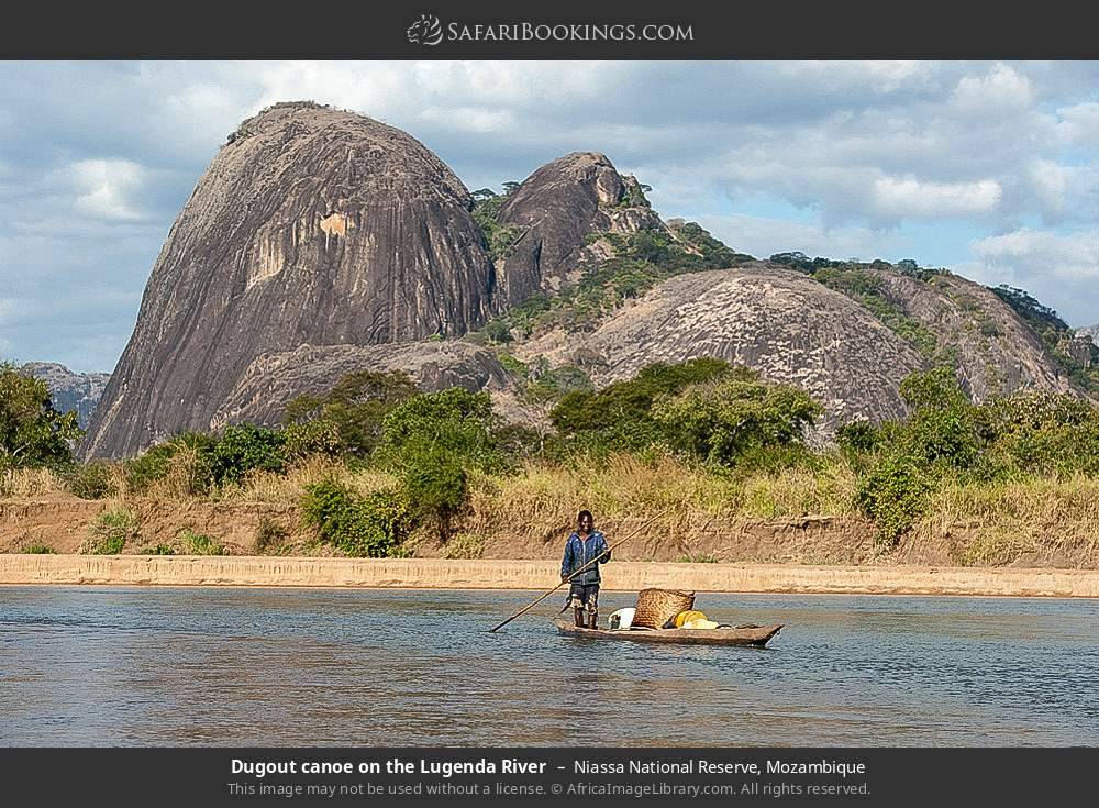 Dugout canoe on the Lugenda river in Niassa National Reserve, Mozambique