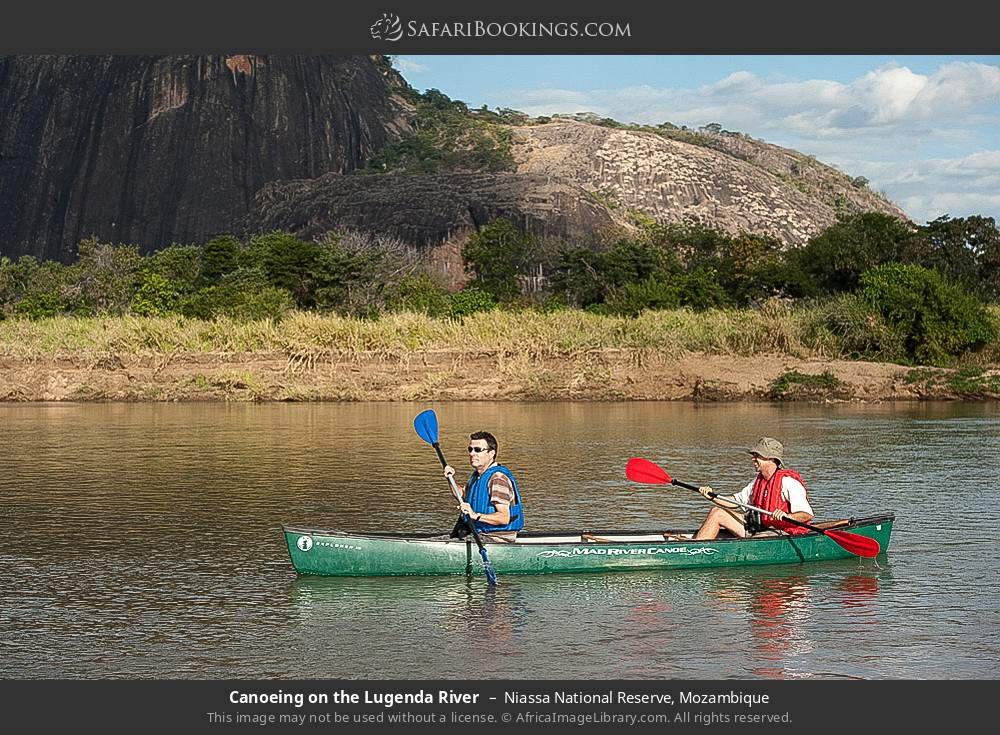 Canoeing on the Lugenda river in Niassa National Reserve, Mozambique