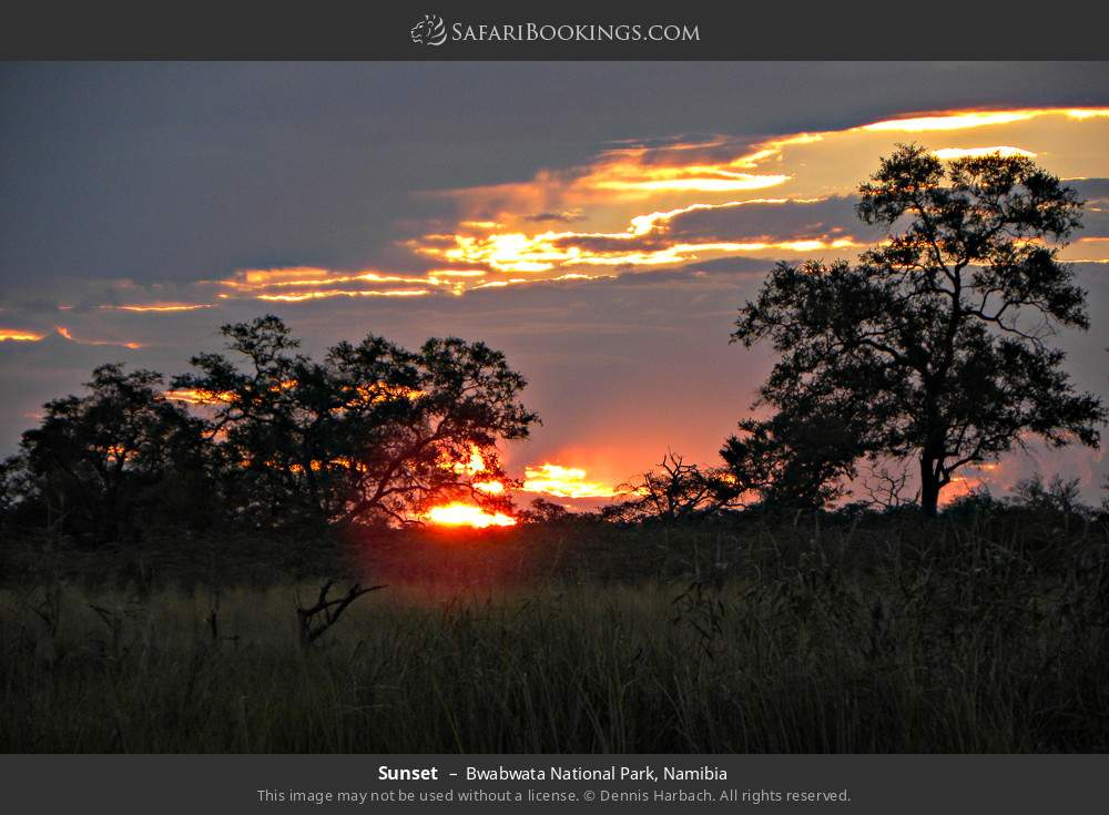 Sunset in Bwabwata National Park, Namibia
