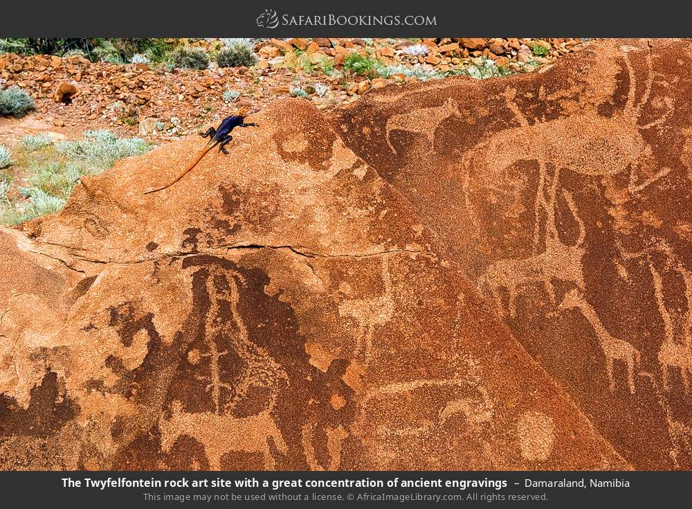 The Twijfelfontein rock art site with a great concentration of ancient engravings in Damaraland, Namibia