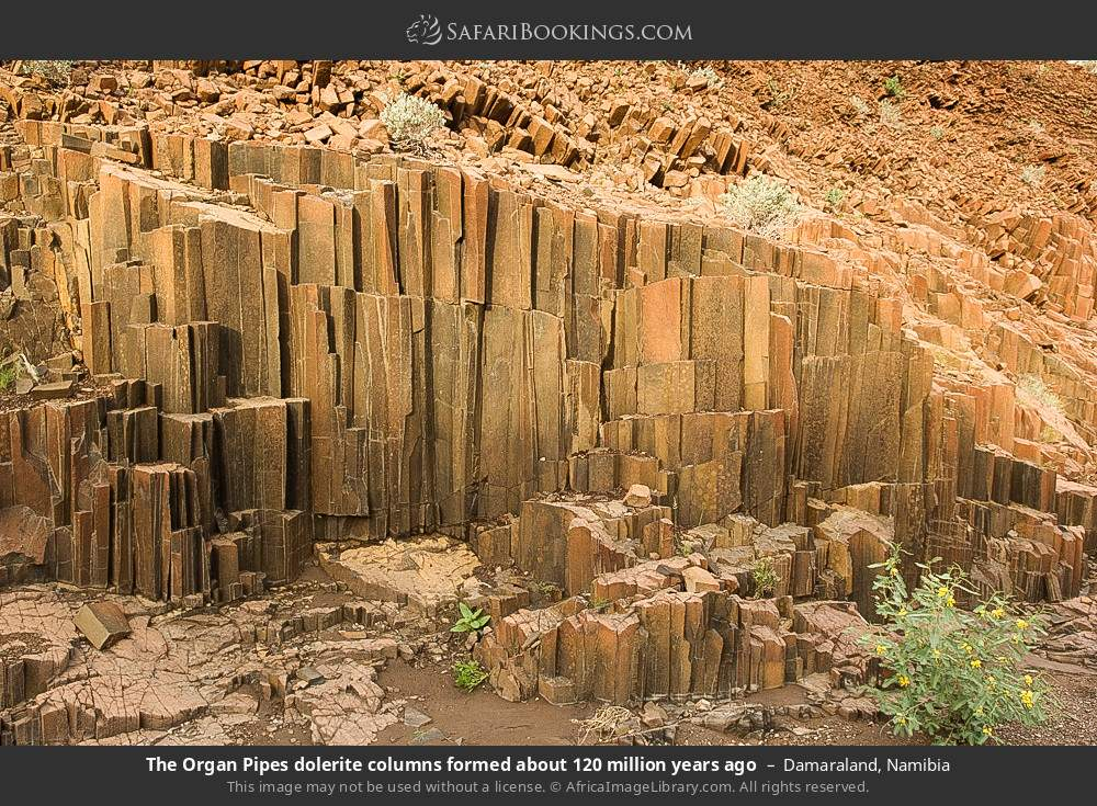 Dolorite formation called organ pipes was formed about 120 million years ago in Damaraland, Namibia